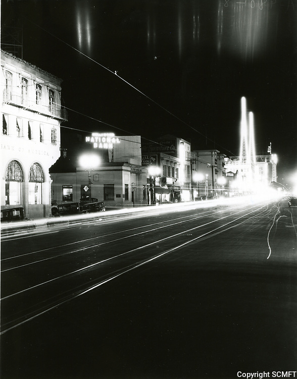 1933 Looking east at Hollywood Blvd. & Whitley Ave. at night