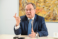 31 MAY 2021, BERLIN/GERMANY:<br /> Armin Laschet, CDU, Ministerpraesident Nordrhein-Westfalen und CDU Bundesvorsitzender, waehrend einem Interview, Landesvertretung NRW<br /> IMAGE: 20210531-01-022