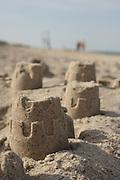A few turrets from a sand castle, Nauset Beach, Cape Cod National Seashore, Orleans, Massachusetts.