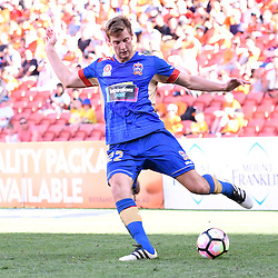 BRISBANE, AUSTRALIA - JANUARY 7: Lachlan Jackson of the Jets kicks the ball during the round 14 Hyundai A-League match between the Brisbane Roar and Newcastle Jets at Suncorp Stadium on January 7, 2017 in Brisbane, Australia. (Photo by Patrick Kearney/Brisbane Roar)