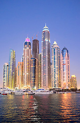 Evening kyline of skyscrapers in marina area at  New Dubai in United Arab Emirates