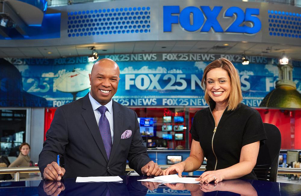 Dedham, MA 03/25/2015<br /> Daniel Miller anchors Fox 25's early morning newscast with Sorboni Banerjee.<br /> Alex Jones / www.alexjonesphoto.com