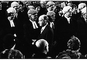 Inaugeration of President Hillery..1983.03.12.1983.12.03.1983.3rd December 1983...Dignitaries from home and abroad attended the Inaugeration of Patrick Hillery, as president of Ireland. the ceremony took place at St Patrick's Hall,Dublin Castle...Photo of a happy President,Mr Patrick Hillery as he passes the states Justices
