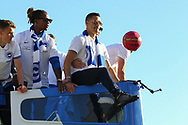 Brighton & Hove Albion central midfielder Beram Kayal does keepy uppies on the open top bus during the Brighton & Hove Albion Football Club Promotion Parade at Brighton Seafront, Brighton, East Sussex. United Kingdom on 14 May 2017. Photo by Ellie Hoad.
