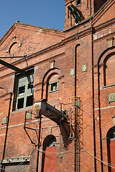 Grimsby Ice House, built 1900, now derelict, having conveyors which took ice directly to trawlers for packing fish in.