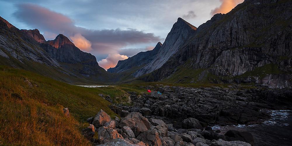 Tents on the coast at Horseid Beach, Moskenesoya, Lofoten Islands, Norway.
