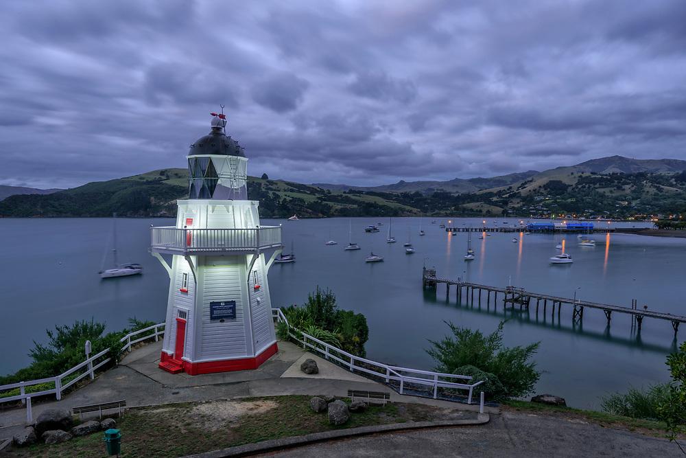 Oceania, New Zealand, Aotearoa, South Island, Banks Peninsula, Akaroa, lighthouse