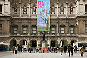 As museums and galleries are allowed to reopen, people arrive at the RA Royal Academy building along Piccadilly on 25th May 2021 in London, United Kingdom. As the coronavirus lockdown continues its process of easing restrictions, more and more people are coming to the West End as more businesses open.