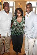 24 June 2010- Miami Beach, Florida- l to r: James Gilmer, Faye Wright, of American Airlines and Jeff Friday at the The 2010 American Black Film Festival Founder's Brunch held at Emeril's on June 24, 2010. Photo Credit: Terrence Jennings/Sipa