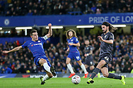 Chelsea Defender Cesar Azpilicueta tackles Sheffield Wednesday midfielder George Boyd (21)  during the The FA Cup fourth round match between Chelsea and Sheffield Wednesday at Stamford Bridge, London, England on 27 January 2019.