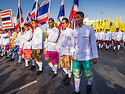 19 APRIl 2014 - BANGKOK, THAILAND: Civil servants march in the parade at the Rattanakosin Festival in Bangkok. Rattanakosin is the name of the man made island that is the heart of the old city. Bangkok was formally founded as the capital of Siam (now Thailand) on 21 April 1782 by King Rama I, founder of the Chakri Dynasty. Bhumibol Adulyadej, the current King of Thailand, is Rama IX, the ninth King of the Chakri Dynasty. The Thai Ministry of Culture organized the Rattanakosin Festival on Sanam Luang, the royal parade ground in the heart of the old part of Bangkok, to celebrate the city's 232nd anniversary.    PHOTO BY JACK KURTZ