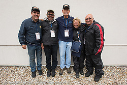 The Italian connection - (L to R) Ciro Nisi, Giuseppe Savoretti, Carl Davis (the Italian team mechanic,) Claudia Ganzaroli and Sante Mazza after The Italian connection - (L to R) Ciro Nisi, Giuseppe Savoretti, Carl Davis (the Italian team mechanic,) Claudia Ganzaroli and Sante Mazza after Stage 7 of the Motorcycle Cannonball Cross-Country Endurance Run, which on this day ran from Sedalia, MO to Junction City, KS., USA. Thursday, September 11, 2014.  Photography ©2014 Michael Lichter.