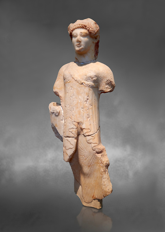 Marble Ancient Archaic Greek statuette of a Kore, from Aleusis, C. 490-480 BC, Athens National Archaeological Museum. Cat No 24.  Against grey. .<br /> <br /> If you prefer to buy from our ALAMY STOCK LIBRARY page at https://www.alamy.com/portfolio/paul-williams-funkystock/greco-roman-sculptures.html . Type -    Athens    - into LOWER SEARCH WITHIN GALLERY box - Refine search by adding a subject, place, background colour, etc.<br /> <br /> Visit our ROMAN WORLD PHOTO COLLECTIONS for more photos to download or buy as wall art prints https://funkystock.photoshelter.com/gallery-collection/The-Romans-Art-Artefacts-Antiquities-Historic-Sites-Pictures-Images/C0000r2uLJJo9_s0