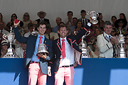 """Henley on Thames, United Kingdom, 8th July 2018, Sunday, View,  """"Fifth day"""", of the annual,  """"Henley Royal Regatta"""", Henley Reach, River Thames, Thames Valley, England, © Peter SPURRIER, Prize Giving, The Double Sculls Challenge Cup - 2018<br /> A.J. Groom {Angus} & J.R.A. {Jack} Beaumont"""