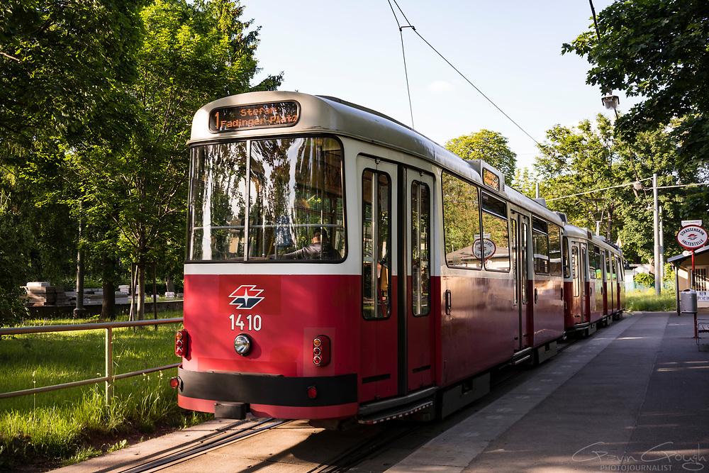 An E1 high-floor tram on the No.1 route, Prater Park, Vienna, Austria