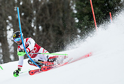 """Marcel Hirscher (AUT) competes during 1st Run of FIS Alpine Ski World Cup 2017/18 Men's Slalom race named """"Snow Queen Trophy 2018"""", on January 4, 2018 in Course Crveni Spust at Sljeme hill, Zagreb, Croatia. Photo by Vid Ponikvar / Sportida"""