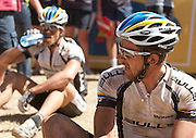Team Bulls 1 recover at the finish line after taking overall lead after stage three of the 2010 Absa Cape Epic Mountain Bike stage race from Ceres to Ceres in the Western Cape, South Africa on the 21 March 2010.Photo by Greg Beadle/SPORTZPICS