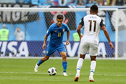 June 22, 2018 - Sao Petesburgo, Vazio, Russia - PHILIPPE COUTINHO of Brasil and JOHAN VENEGAS of Costa Rica during the match between Brazil and Costa Rica for the second round of group E of the 2018 World Cup, held at Saint Petersburg Stadium, St. Petersburg, Russia. Game ended scoreless. (Credit Image: © Thiago Bernardes/Pacific Press via ZUMA Wire)