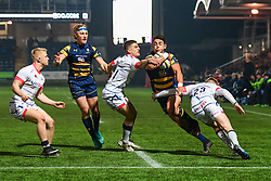 Bryce Heem of Worcester Warriors is tackled by Matt Sturgess and Connor Doherty of Sale Sharks - Mandatory by-line: Craig Thomas/JMP - 03/11/2017 - RUGBY - Sixways Stadium - Worcester, England - Worcester Warriors v Sale Sharks - Anglo Welsh Cup