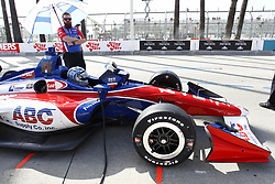 April 13, 2018 - Long Beach, California, United States of America - April 13, 2018 - Long Beach, California, USA: Tony Kanaan (14) sits in his car while his crew makes adjustments on it during practice for the Toyota Grand Prix of Long Beach at Streets of Long Beach in Long Beach, California. (Credit Image: © Justin R. Noe Asp Inc/ASP via ZUMA Wire)