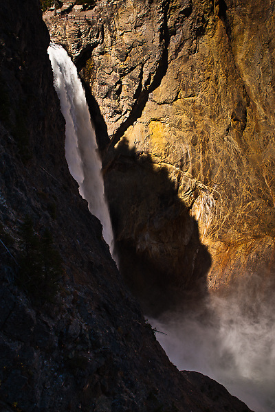 The 308 ft. Lower Falls on the Yellowstone River.  Viewed from along Uncle Tom's Trail.  Yellowstone National Park, Wyoming, USA.