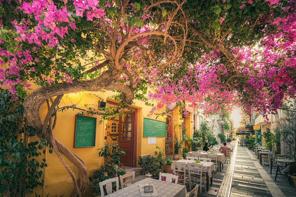 Old city street at Nafplio (Nafplion) Greece