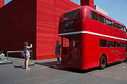 A wedding special red Routemaster parked outside the National Theatre's temporary space The Shed Theatre on the South Bnak, London, UK. The South Bank is a significant arts and entertainment district, and home to an endless list of activities for Londoners, visitors and tourists alike.