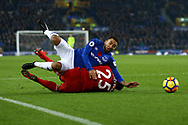 Jose Holebas of Watford brings down Aaron Lennon of Everton to give away a penalty late in the match which Everton score to win the match.  . Premier league match, Everton vs Watford at Goodison Park in Liverpool, Merseyside on Sunday 5th November 2017.<br /> pic by Chris Stading, Andrew Orchard sports photography.