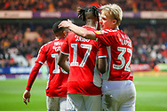 Charlton Athletic midfielder Joe Aribo (17) celebrates with Charlton Athletic midfielder George Lapslie (32) after scoring a goal taking his team to a 2-1 lead during the EFL Sky Bet League 1 match between Charlton Athletic and Bristol Rovers at The Valley, London, England on 24 November 2018.
