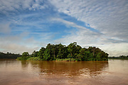 Lush forest borders a bend in the Kinabatangan River, within the Kinabatangan Wildlife Sanctuary, in Bilit, Sabah, Malaysia, on 9 September 2016.