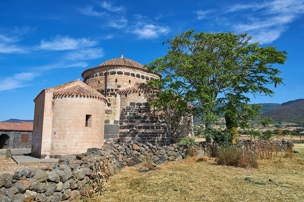 Picture and image of the Byzantine Romanesque church of Santa Sabina at Santa Sabina Nuragic archaeological site, Middle Bronze age , Silanus ,  Sardinia. .<br /> <br /> If you prefer you can also buy from our ALAMY PHOTO LIBRARY  Collection visit : https://www.alamy.com/portfolio/paul-williams-funkystock/nuraghe-santa-sabina-sardinia.html<br /> Visit our PREHISTORIC PLACES PHOTO COLLECTIONS for more   photos  to download or buy as prints https://funkystock.photoshelter.com/gallery-collection/Prehistoric-Neolithic-Sites-Art-Artefacts-Pictures-Photos/C0000tfxw63zrUT4