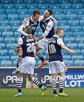 GOAL CELEBRATION - Millwall's Jed Wallace celebrates scoring his sides second goal with team mates<br /> <br /> Photographer Craig Mercer/CameraSport<br /> <br /> Football - The Football League Sky Bet League One - Millwall v Blackpool - Saturday 5th March 2016 - The Den - Millwall<br /> <br /> © CameraSport - 43 Linden Ave. Countesthorpe. Leicester. England. LE8 5PG - Tel: +44 (0) 116 277 4147 - admin@camerasport.com - www.camerasport.com