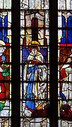 Sixteenth century stained glass windows inside church of Saint Mary, Fairford, Gloucestershire, England, UK - window 17 Saint Mark