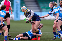 Heather Fisher of Worcester Warriors Women is tackled by George Roberts of DMP Durham Sharks - Mandatory by-line: Nick Browning/JMP - 09/01/2021 - RUGBY - Sixways Stadium - Worcester, England - Worcester Warriors Women v DMP Durham Sharks - Allianz Premier 15s
