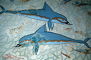 GREECE, HISTORIC ART AND ARTIFACTS Minoan Fresco showing Dolphins swimming  from the Queen's Room in the Knossos  Palace