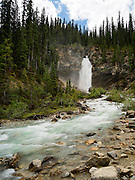 View of Laughing Falls on a beautiful summer day; Yoho National Park, near Golden, British Columbia, Canada