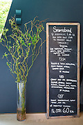Cafe blackboard lunch and snacks menu prices in Kroner for Smorrebrod - smorgasbord - at Ordrupgaard Art Design Museum, Denmark