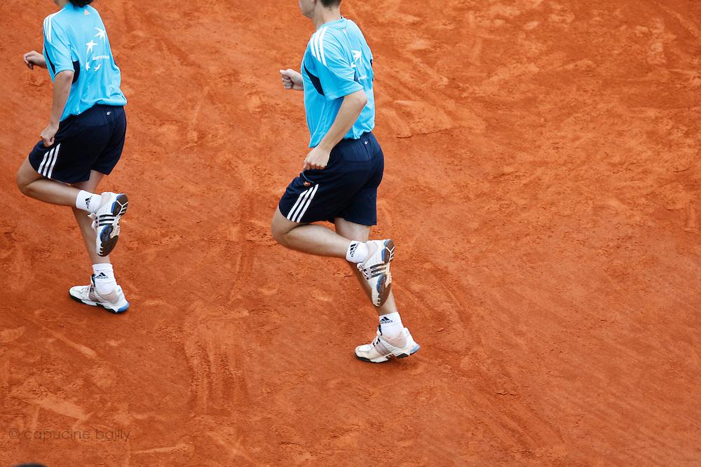 Roland Garros. Paris, France. June 3rd 2008..Ball boys...