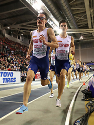 Norway's Henrik Ingebrigtsen (left) and brother Norway's Jakob Ingebrigtsen during the Men's 3000m final during day two of the European Indoor Athletics Championships at the Emirates Arena, Glasgow.