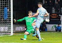 Luton Town's James Shea blocks the shot from Leeds United's Jack Harrison<br /> <br /> Photographer Alex Dodd/CameraSport<br /> <br /> The EFL Sky Bet Championship - 191123 Luton Town v Leeds United - Saturday 23rd November 2019 - Kenilworth Road - Luton<br /> <br /> World Copyright © 2019 CameraSport. All rights reserved. 43 Linden Ave. Countesthorpe. Leicester. England. LE8 5PG - Tel: +44 (0) 116 277 4147 - admin@camerasport.com - www.camerasport.com