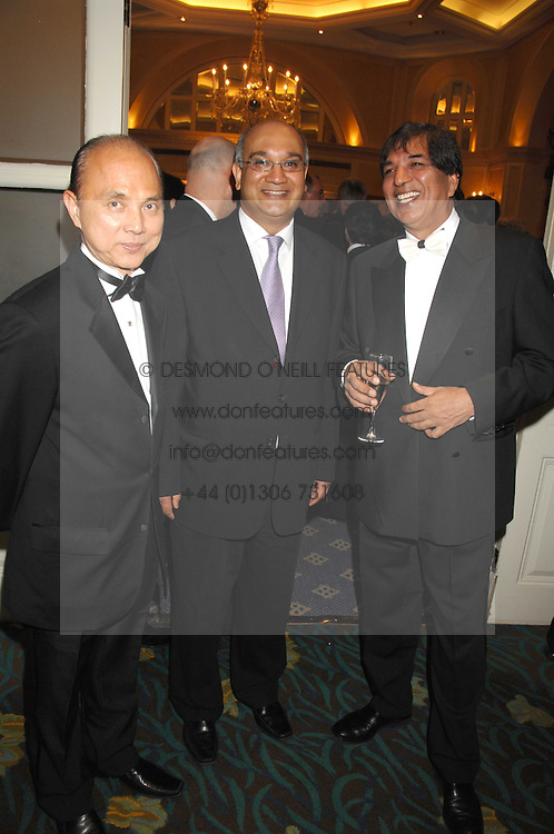 Left to right, JIMMY CHOO, KEITH VAZ MP and DR AVTAR LIT at the Eastern Eye Asian Business Awards 2007 in the presence of HRH The Duke of York at the Hilton Park Lane, London on 8th May 2007.<br /><br />NON EXCLUSIVE - WORLD RIGHTS
