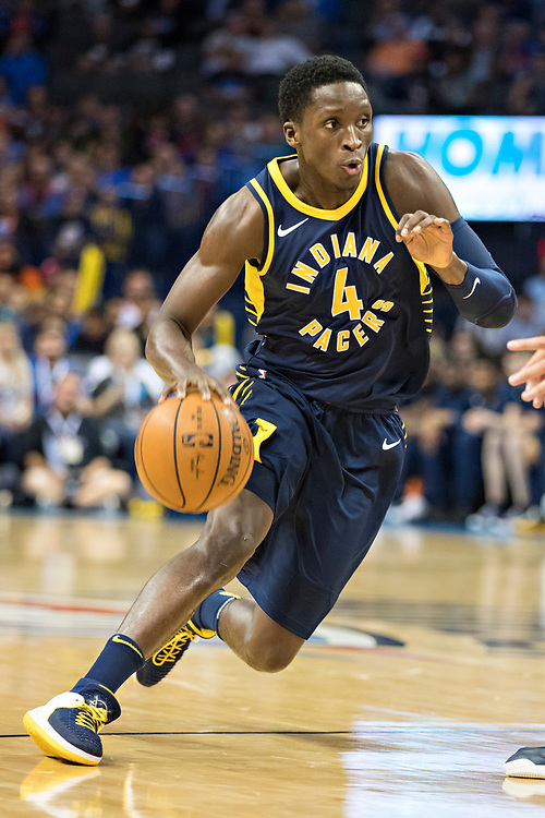 OKLAHOMA CITY, OK - OCTOBER 25:  Victor Oladipo #4 of the Indiana Pacers drives down the court during a game against the Oklahoma City Thunder at the Chesapeake Energy Arena on October 25, 2017 in Oklahoma City, Oklahoma.  NOTE TO USER: User expressly acknowledges and agrees that, by downloading and or using this photograph, User is consenting to the terms and conditions of the Getty Images License Agreement.  The Thunder defeated the Pacers 114-96.  (Photo by Wesley Hitt/Getty Images) *** Local Caption *** Victor Oladipo