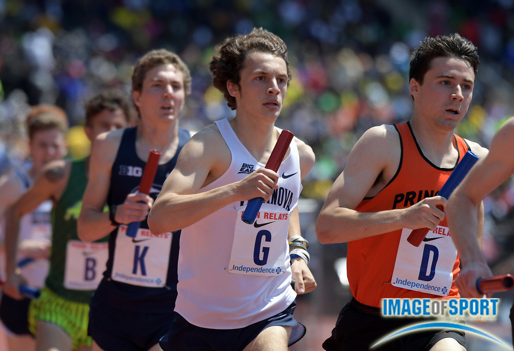 Apr 28, 2018; Philadelphia, PA, USA; Logan Wetzel runs the first leg on the Villanova 4 x mile relay that won the Championship of America race in 16:23.75 during the 124th Penn Relays at Franklin Field.