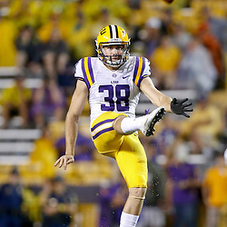 Sep 21, 2013; Baton Rouge, LA, USA; LSU Tigers punter Jamie Keehn (38) against the Auburn Tigers during the second half of a game at Tiger Stadium. LSU defeated Auburn 35-21. Mandatory Credit: Derick E. Hingle-USA TODAY Sports