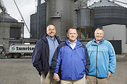 SHOT 10/29/18 9:47:53 AM - Sunrise Cooperative is a leading agricultural and energy cooperative based in Fremont, Ohio with members spanning from the Ohio River to Lake Erie. Sunrise is 100-percent farmer-owned and was formed through the merger of Trupointe Cooperative and Sunrise Cooperative on September 1, 2016. Photographed at the Clyde, Ohio grain elevator was George D. Secor President / CEO and John Lowry<br /> Chairman of the Board of Directors with  CoBank RM Gary Weidenborner. (Photo by Marc Piscotty © 2018)