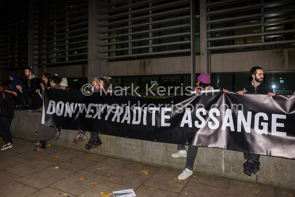 London, UK. 5 November, 2019. Supporters of the Don't Extradite Assange Campaign assemble outside the Home Office to protest against the extradition of Wikileaks whistleblower Julian Assange to the United States. Rapper M.I.A. performed at the protest and speakers included Assange's father John Shipton and fashion designer Vivienne Westwood.