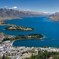 View on Queenstown with Lake Wakatipu and the Remarkables mountain range behind.