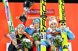 12.12.2015, Nordic Center, Nizhny Tagil, RUS, FIS Weltcup Ski Sprung, Nizhny Tagil, Damen, im Bild v.l.: Sara Takanashi (JPN, 2. Platz), Daniela Iraschko-Stolz (AUT, 1. Platz), Eva Pinkelnig (AUT, 3. Platz) // f.l.: 2nd placed Sara Takanashi of Japan Winner Daniela Iraschko-Stolz of Austria 3rd placed Eva Pinkelnig of Austria during Ladies Skijumping Competition of FIS Skijumping World Cup at the Nordic Center in Nizhny Tagil, Russia on 2015/12/12. EXPA Pictures © 2015, PhotoCredit: EXPA