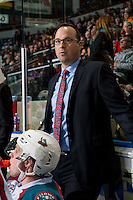 KELOWNA, CANADA - FEBRUARY 10: Kelowna Rockets' assistant coach, Kris Mallette stands on the bench against the Vancouver Giants on February 10, 2017 at Prospera Place in Kelowna, British Columbia, Canada.  (Photo by Marissa Baecker/Shoot the Breeze)  *** Local Caption ***