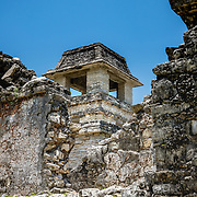 Interior ruins of Palace structure at Palenque ruins, Mexico